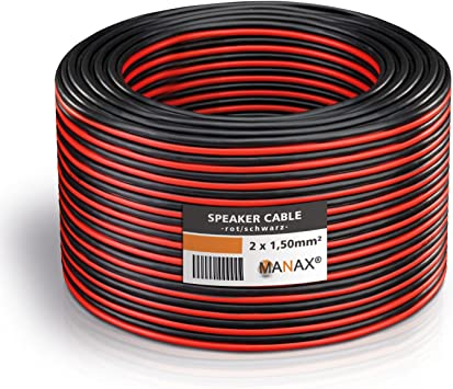 MANAX/® cable del altavoz 2 x 0,75 mm/² 20 m transparente Anillo