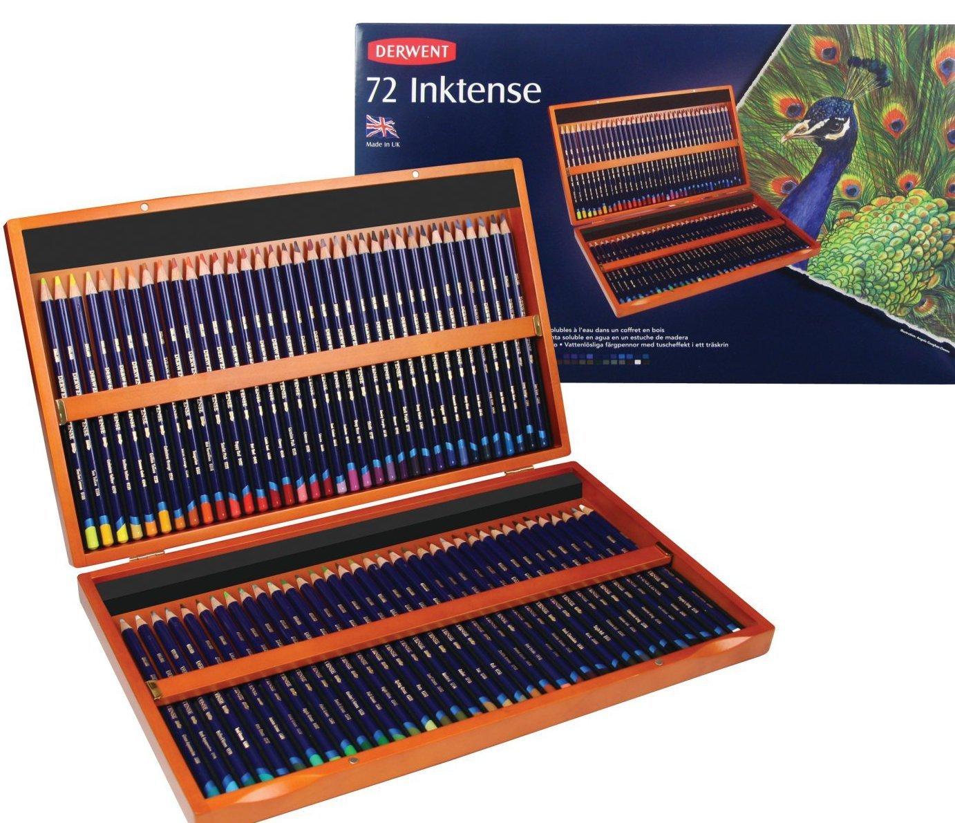 Derwent Colored Pencils, Inktense Ink Pencils, Drawing, Art, Wooden Box, 72 Count (2301844)