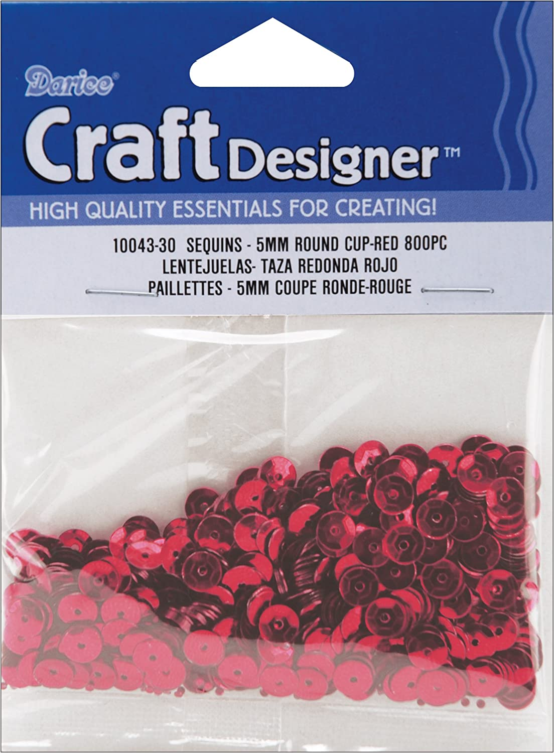 Cupped Sequins 5mm 800//Pkg-Red