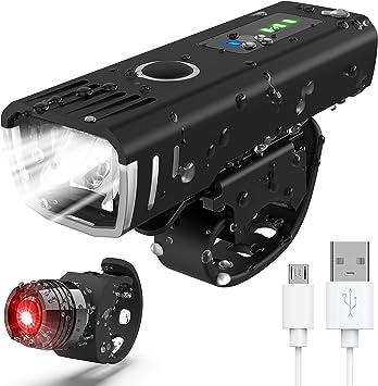 POWLAKEN ÚLTIMO 2020 Juego de luces LED para bicicleta, recargables, con USB, superbrillantes, resistentes al agua,