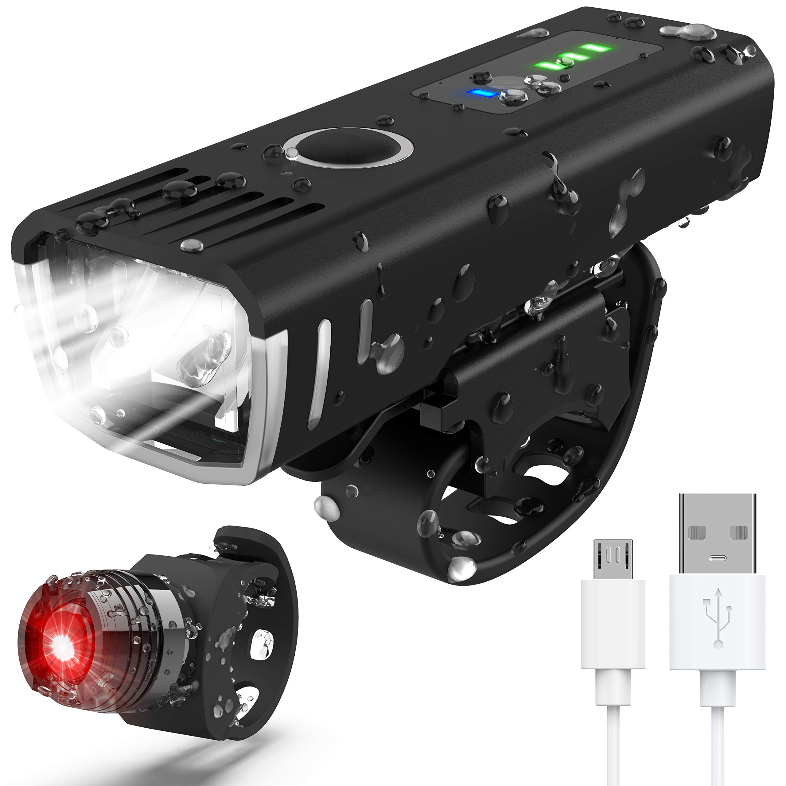 IANRTTE Bike Light Set, USB Rechargeable Super Bright LED Waterproof Headlight Front Lights and Back Rear Bike Lights,Easy Mount 4 Light Mode Cycle Lights Fits All Bicycles,Mountain,Road
