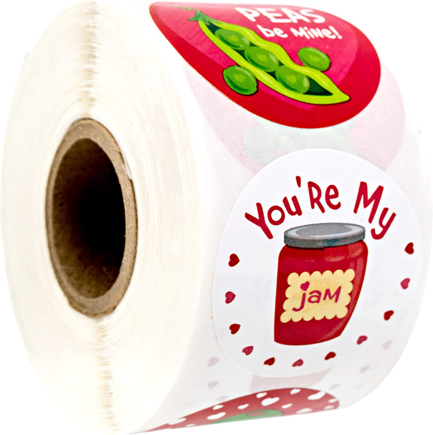 Valentine Food Pun Stickers/Roll of 500 Circle Labels / 1.5