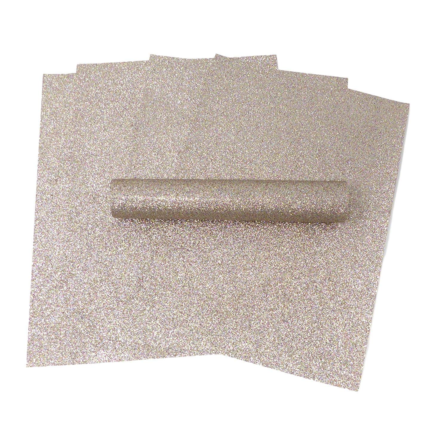 10 Sheets A4 Glitter Paper Light Gold Iridescent Colour Mix Sparkly Soft Touch Non Shed 100gsm