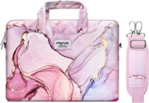 MOSISO Laptop Shoulder Bag Compatible with MacBook Pro 16 inch A2141, 15 15.4 15.6 inch Dell HP Acer Samsung Sony Chromebook, Polyester Carrying Briefcase Sleeve with Trolley Belt Marble MO-MBH216
