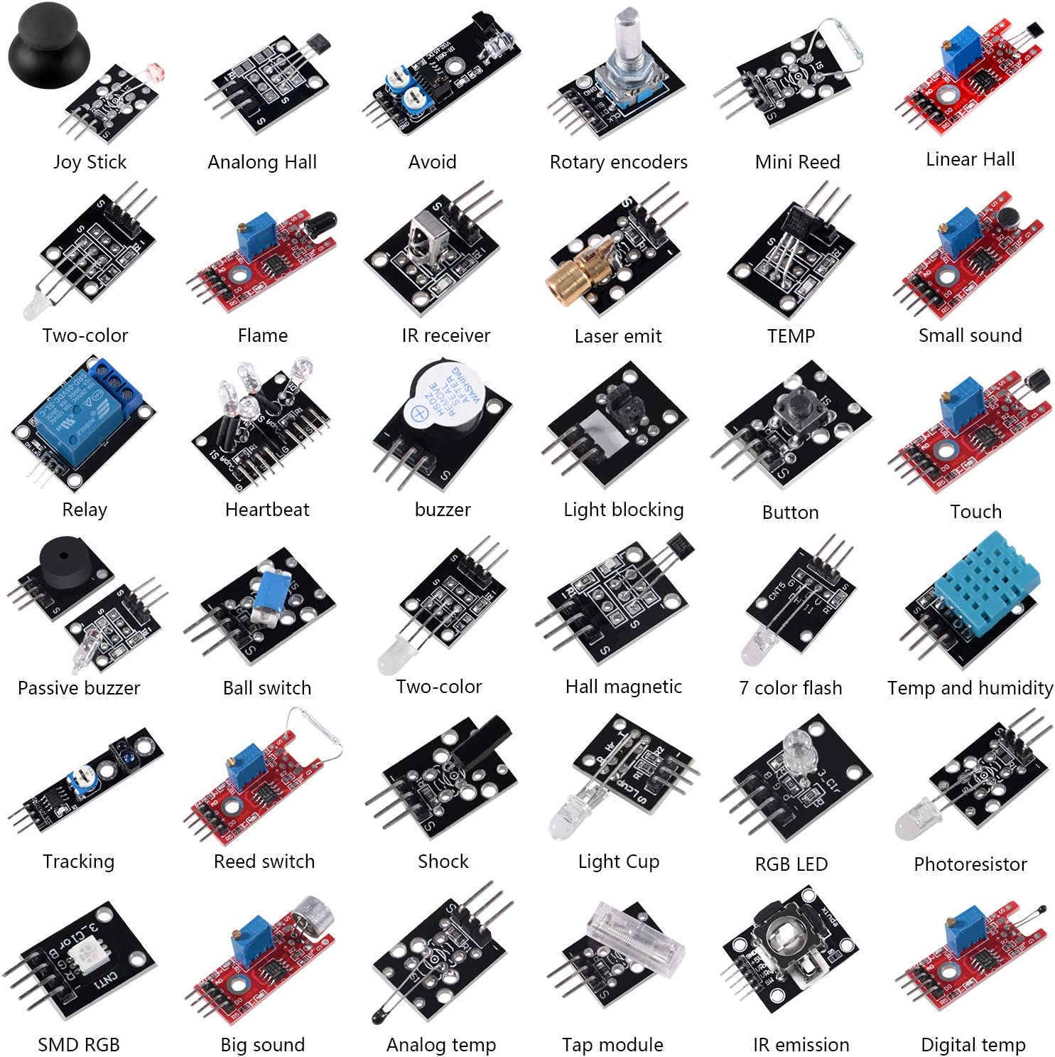 Aoicrie 37 Sensors Assortment Kit.37 Sensor Starter Kit for Arduino Raspberry pi Sensor kit 37in1 Robot Projects Starter Kits for Arduino, Raspberry pi 4 Pi 3,3B+,RPi A,Model B,B+,2
