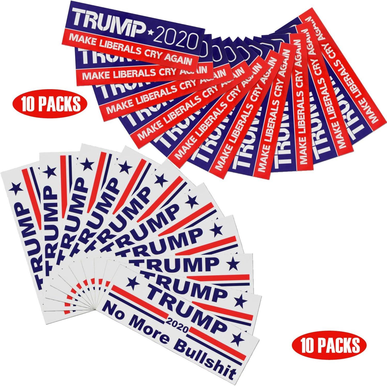 MAGA Trump Sticker, Trump 2020 BumperStickers, 20 pcs Reelect Donald Trump Car/Truck/Window/Laptop Sticker and Decals-10pcs Trump Make Liberals Cry Again and 10 pcs No More Bullshit