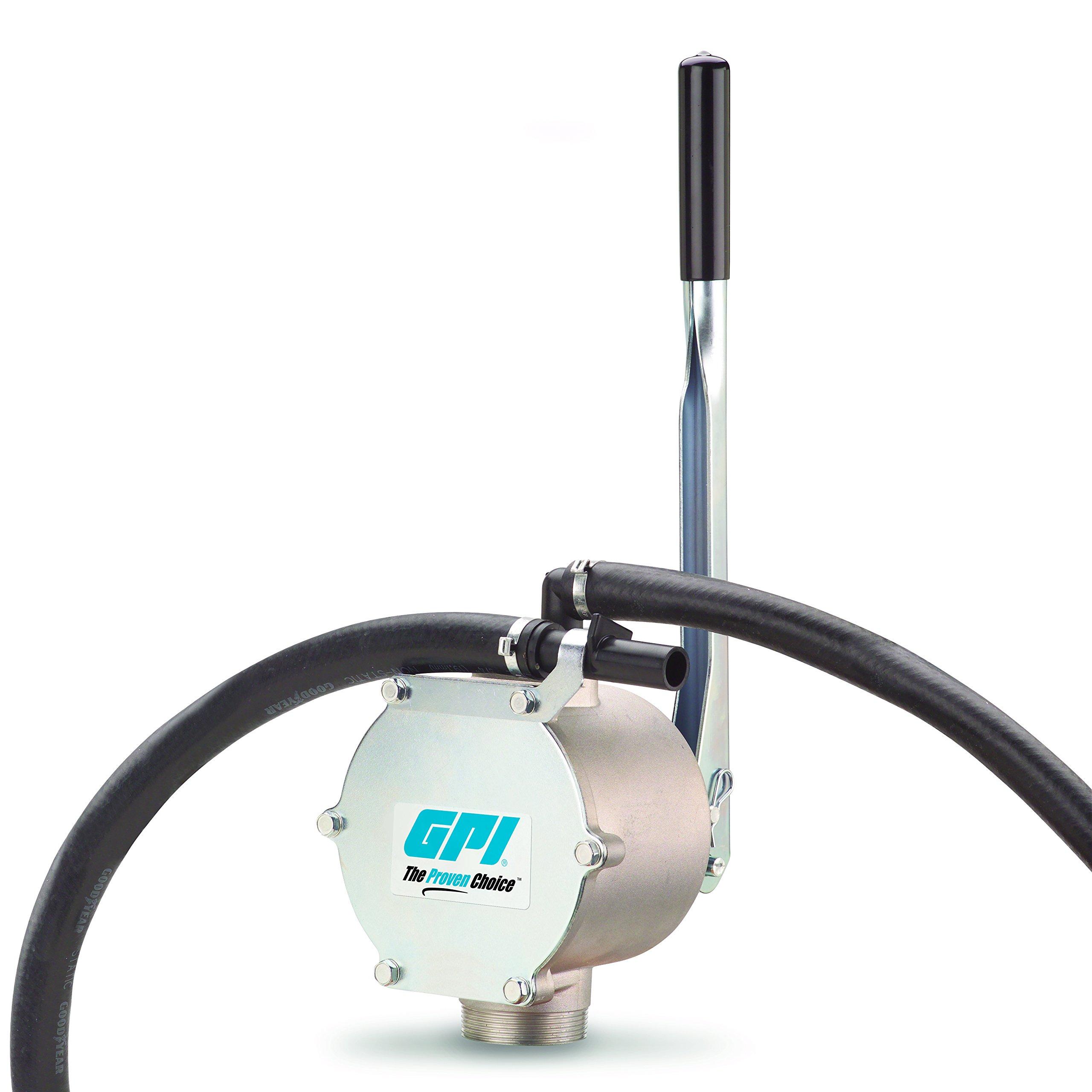GPI 131000-1, HP-90 Dual Action Aluminum Piston Fuel Transfer Hand Pump, 1 Quart per Stroke, Hose, Plastic Nozzle & Suction Pipe