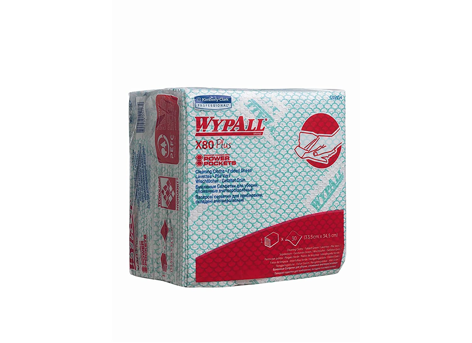 WypAll* X80 Plus Cloths 19154 - 8 packs x 30 quarter-fold, green cloths Kimberly-Clark Professional (EU)