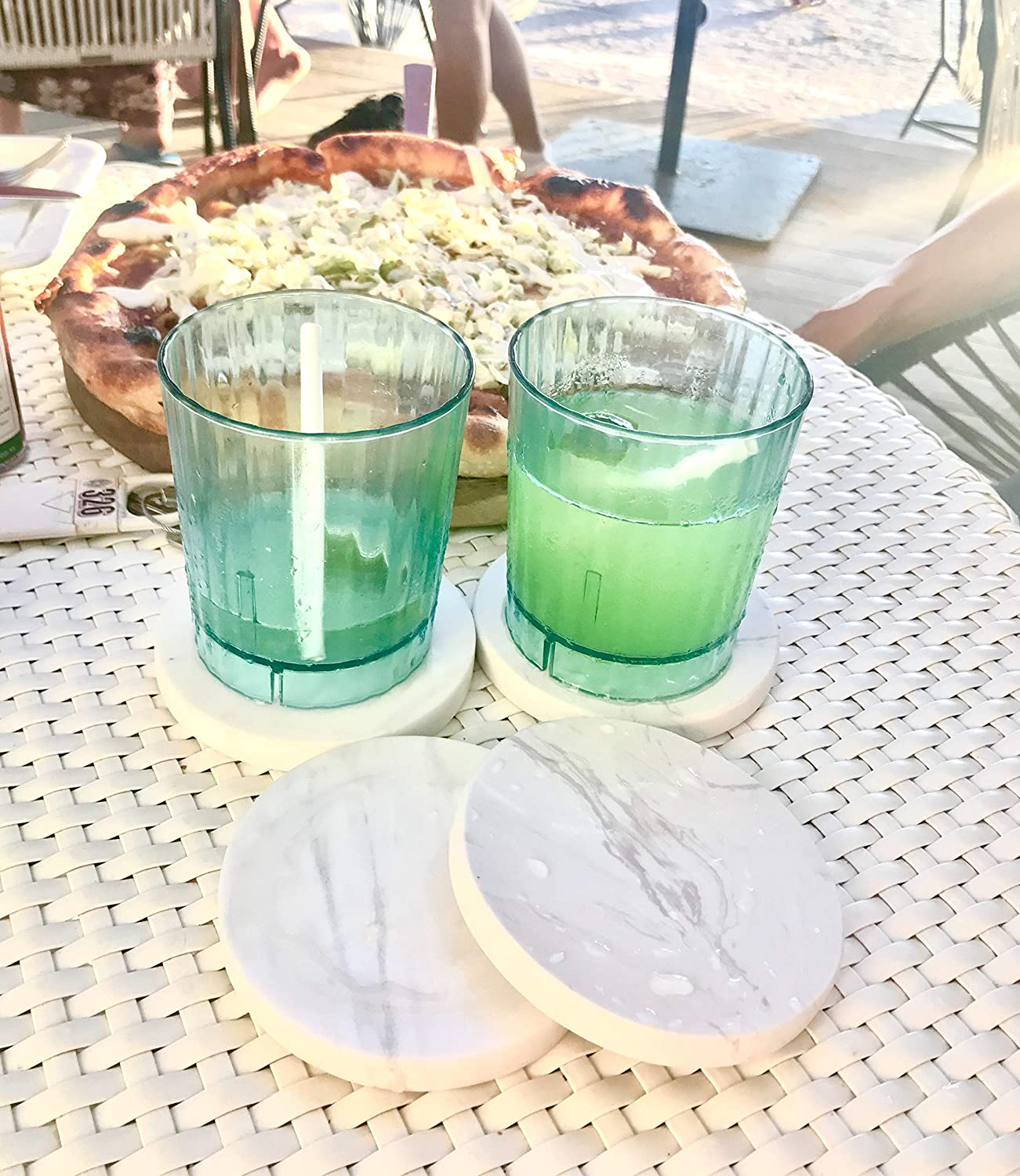 Set of 4 Large Handcrafted Stackable Round Design White Marble Coaster Set Perfect For Wine Glass Real Polished Stone Tile Marble Coasters Ideal For Bar and Dining Table