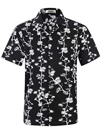 aa5888770a8 APTRO Men s Hawaiian Shirt Summer Short Sleeve Beach Party Shirts at ...