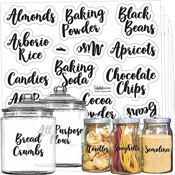 Mega Set 110 Pantry Labels – Preprinted Kitchen Labels Sticker by Talented Kitchen. Cursive Script Design. Clear Water Resistant Food Labels for Pantry Organization and Storage (Set of 110- Cursive)