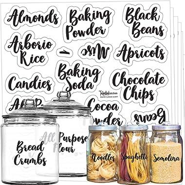 Mega Set 110 Pantry Labels – Preprinted Kitchen Labels Sticker by Talented Kitchen. Cursive Script Design. Clear Water Resistant Food Labels for Pantry Organization and Storage (Set of 110- Cursive)