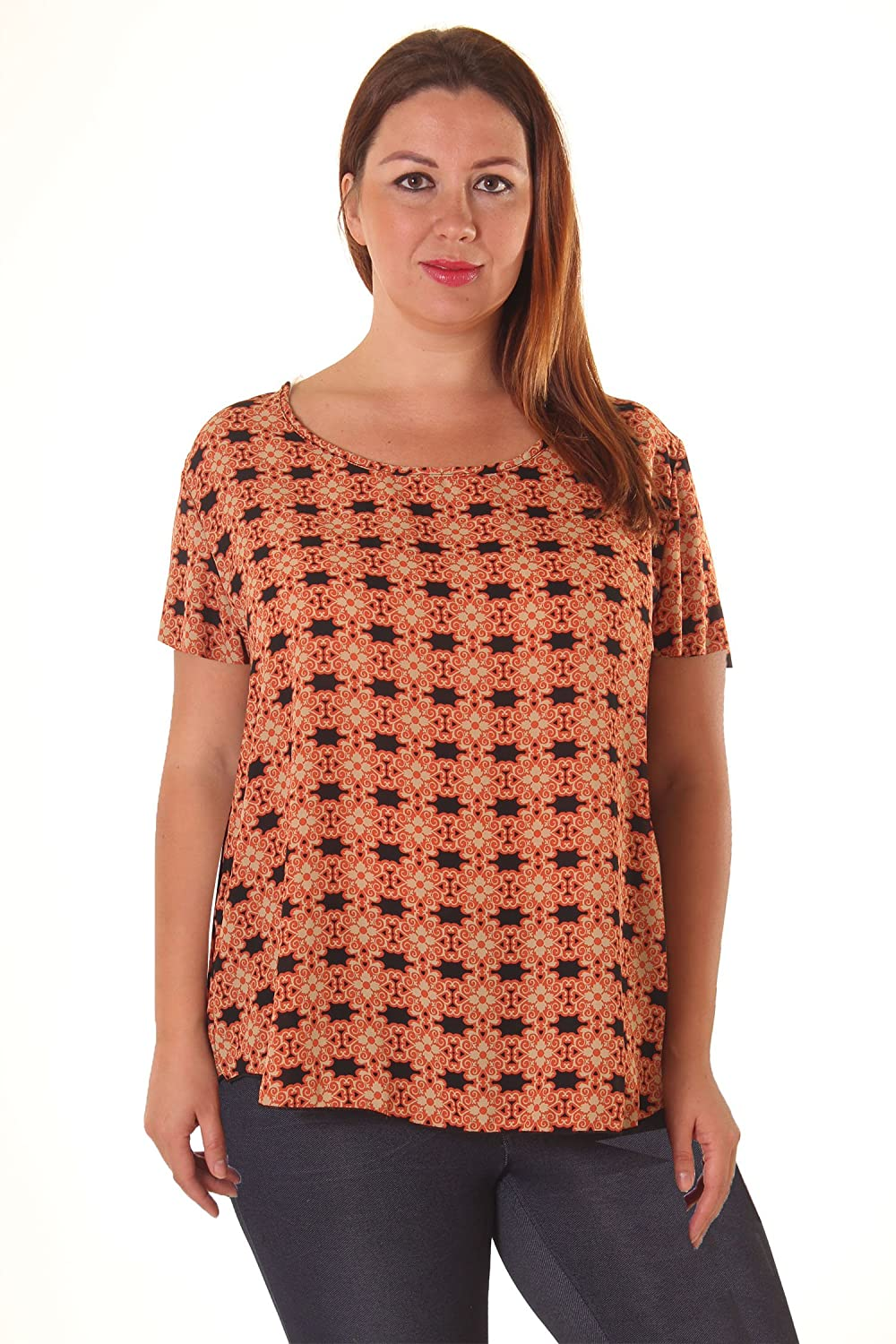Hot Ginger Women's Tunic Top Short Sleeve Printed T-shirt Extra Size