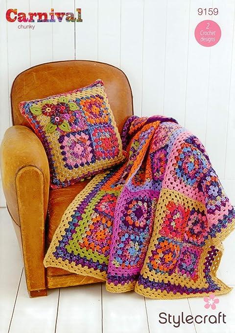 Stylecraft 9159 Crochet patrón manta y cojín en Carnaval ...