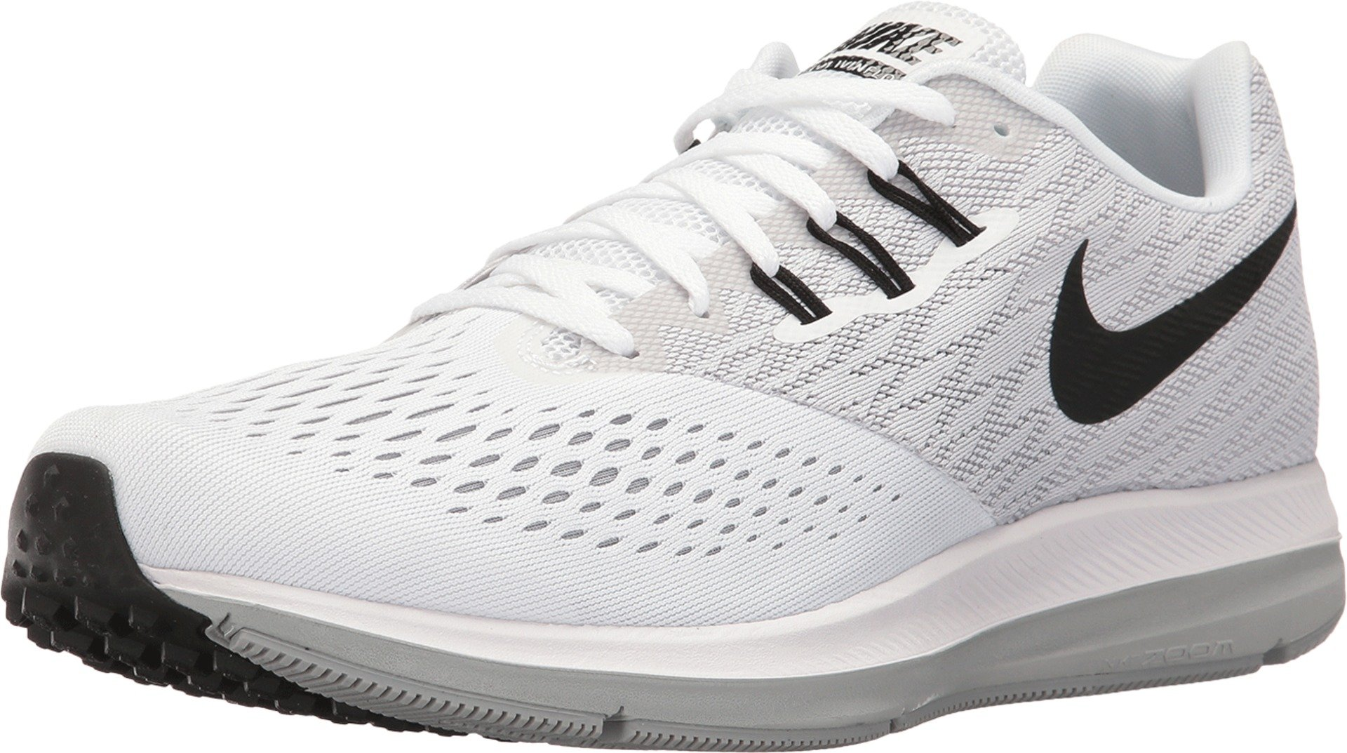 newest 1e93a 66e04 Nike Men's Air Zoom Winflo 4 Running Shoe, White/Black/Wolf Grey 8
