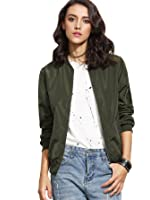 ROMWE Women's Classic Zipper Short Bomber Jacket Coat