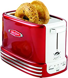 Nostalgia New and Improved Wide 2-Slice Toaster, Perfect For Bread, English Muffins, Bagels, 5 Browning Levels, With Crumb Tray & Cord Storage – Retro Red