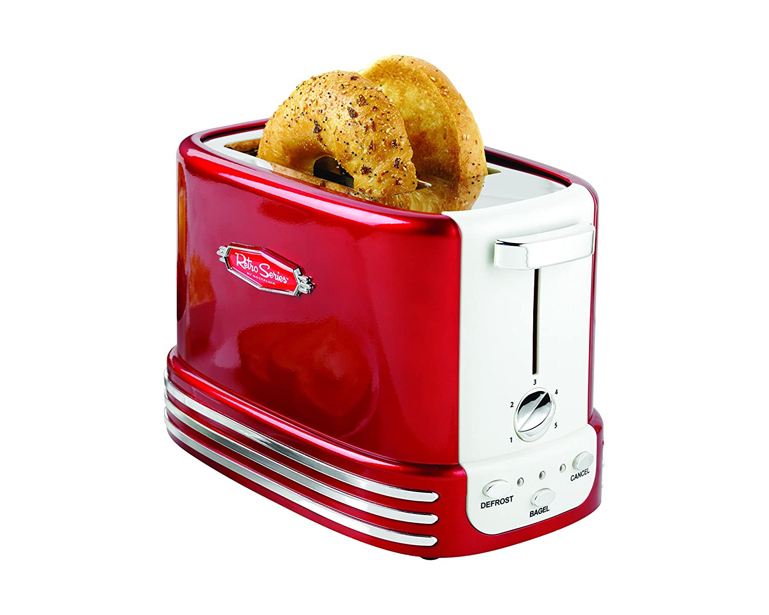 Nostalgia RTOS200 New and Improved Wide 2-Slice Toaster, Perfect For Bread, English Muffins, Bagels, 5 Browning Levels, With Crumb Tray Cord Storage Retro Red
