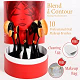Blend a Contour Set of 10 Professional Oval Cosmetic Brushes - Concealer Eyeliner Lip Toothbrush Face Makeup Tools Kit - Excellent X-Mas Present for Visagiste, Cosmetologist