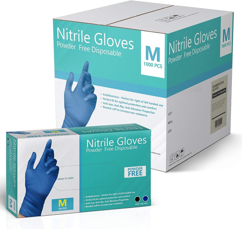 Latex Free M L Exam Nitrile Gloves Box of 100 Powder Free