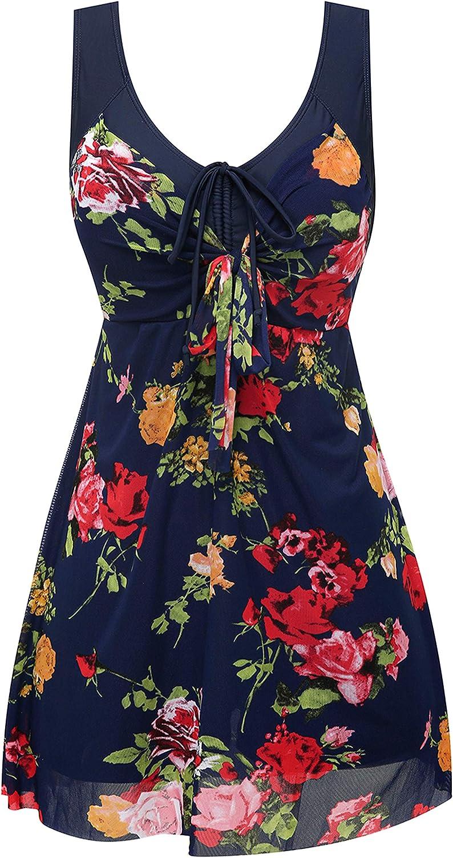 Womens 2 Piece Tankini Set Swimsuit Plus-Size Flower Printing Shaping Body Swim Dresses Swimwear Cover Up Swimsuit