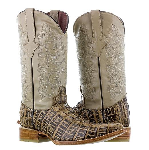 Texas Legacy - Mens Rustic Sand Crocodile Tail Print Leather Cowboy Boots 3X Toe
