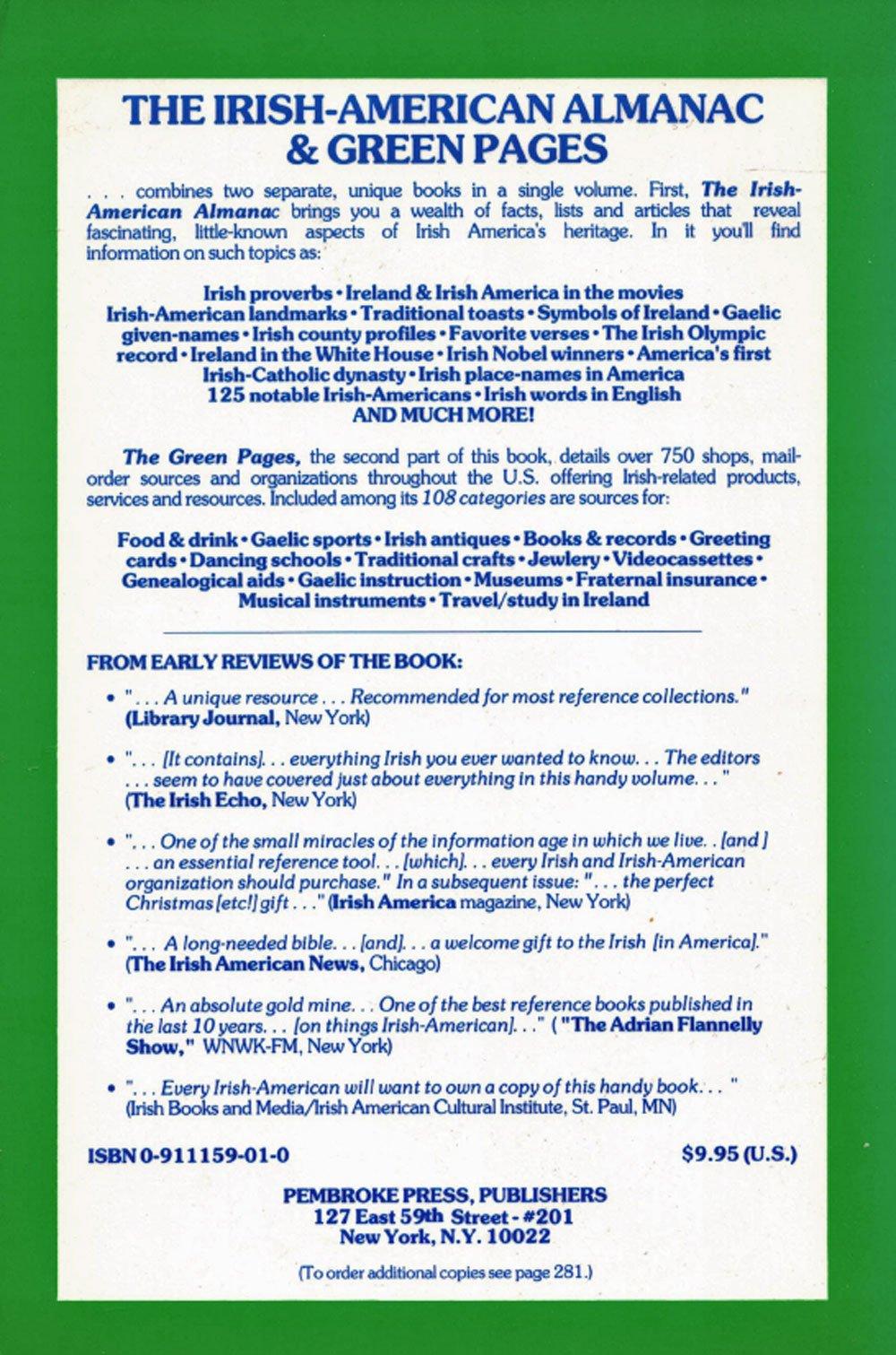 Irish American Almanac And Green Pages Brian E Cooper 9780911159011 Amazon Books