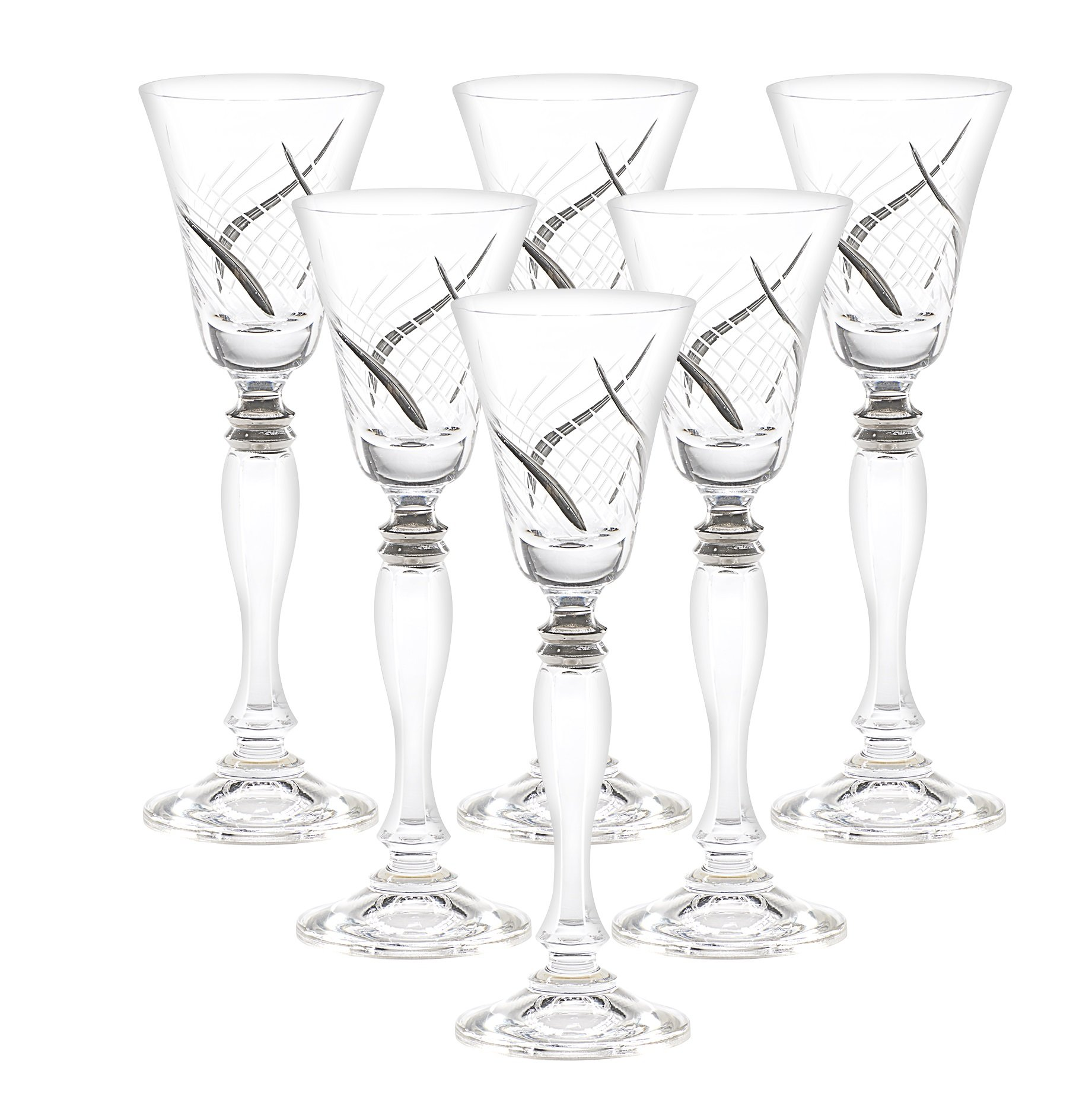 Set of 6 Handcrafted Cordial Liqueur Crystal Glass Drinking Glasses with Real Platinum Detailing, Luxurious Gift for Men and Women - For Scotch, Vodka, Spirits, Liquors & Schnapps, 7'' Height, 2 oz