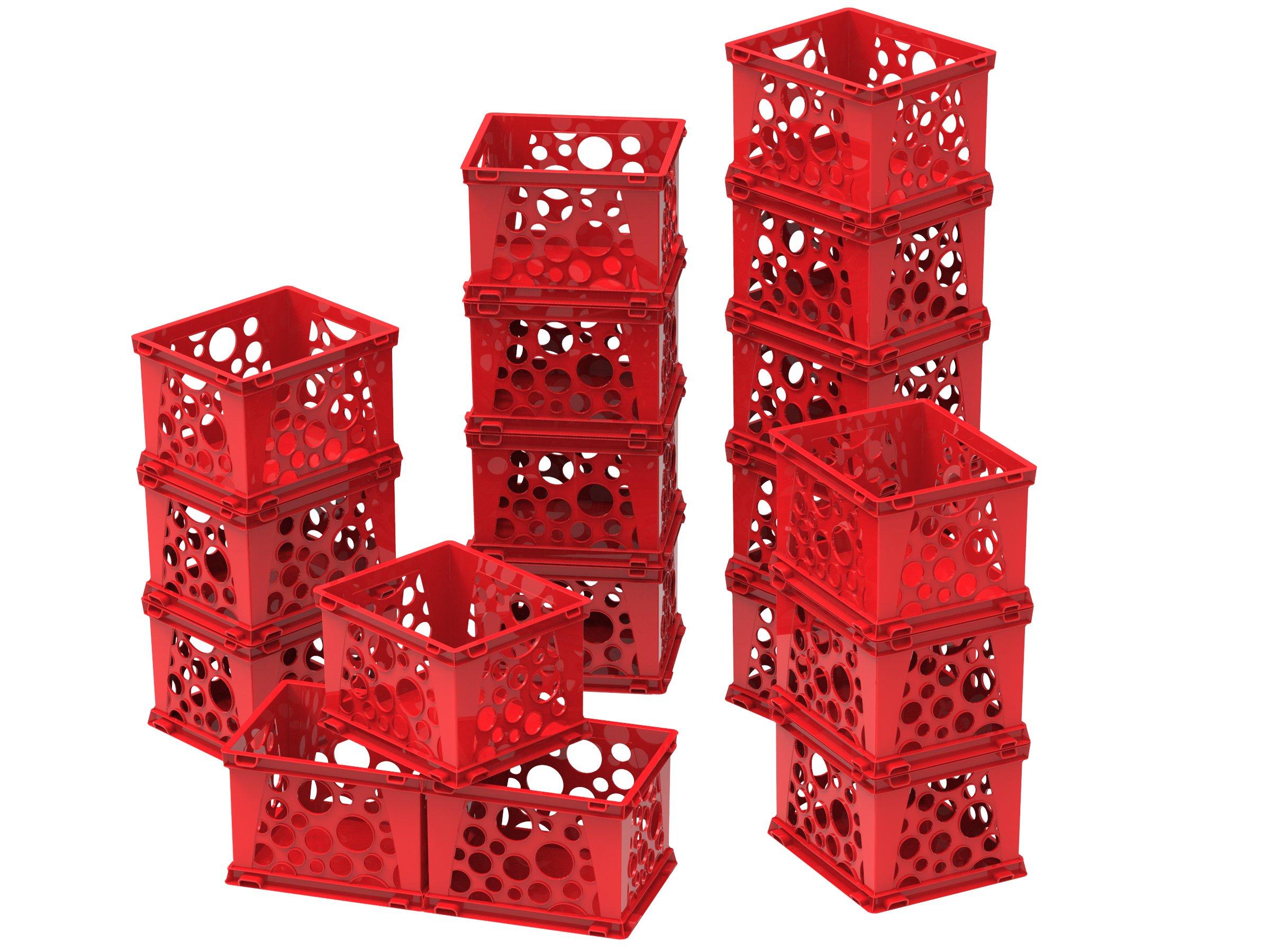 Storex Micro Crate, 6.75 x 5.8 x 4.8'', Red, Case of 18 (63103U18C) by Storex