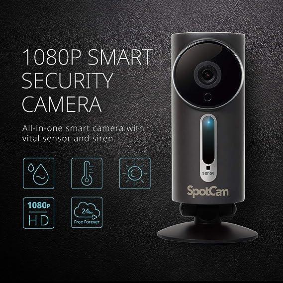 Spotcam Sense Pro 1080p Kabellose Sicherheitskamera Für Die Heimanwendung Drinnen Draußen 2 Wege Gespräche Temperatur Feuchtigkeits Lux Sensor Mit Kostenloser Cloud Aufzeichnung Rund Um Die Uhr Baumarkt