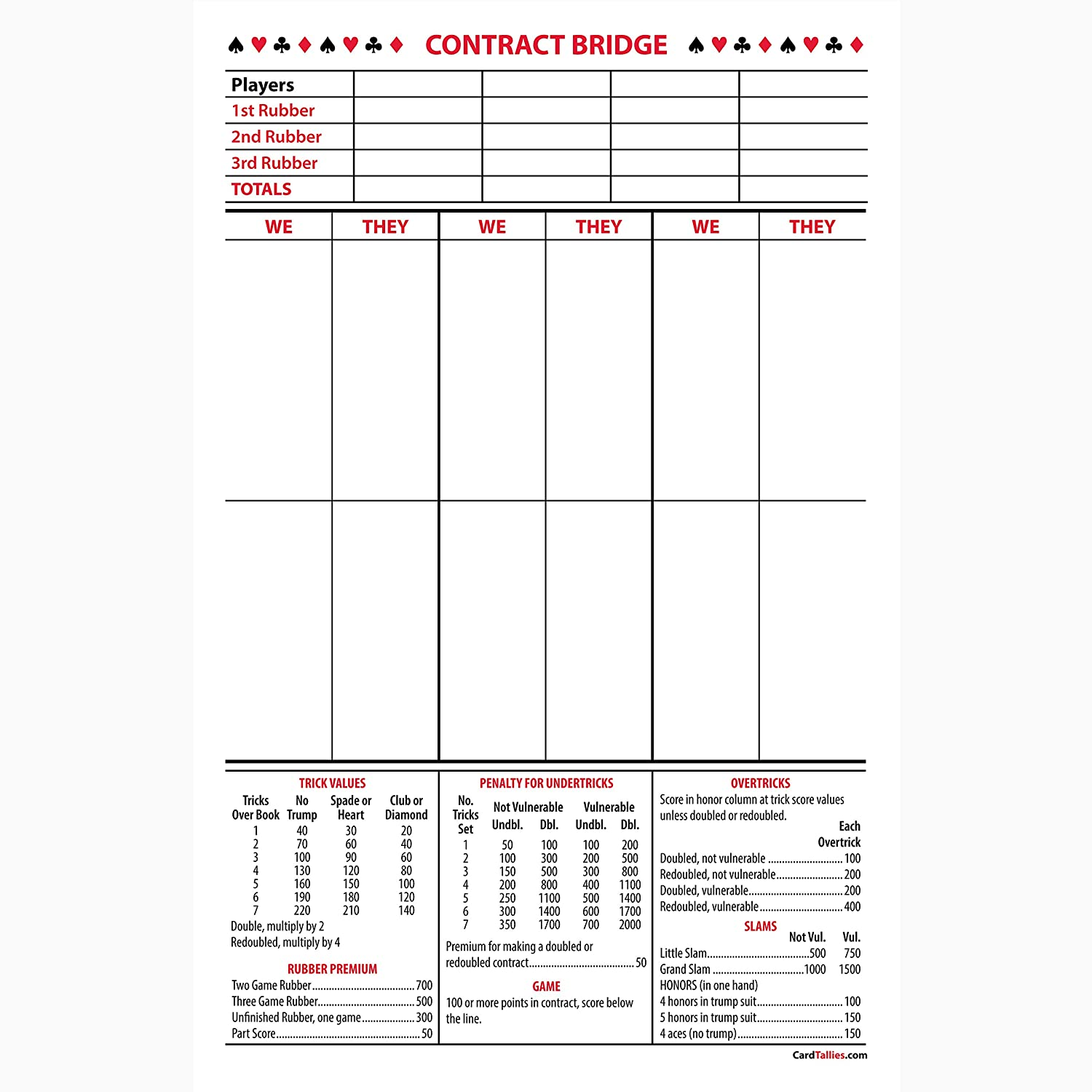 Amazon.com: Contract Bridge Score Pads, 5 Pack, Large Size: