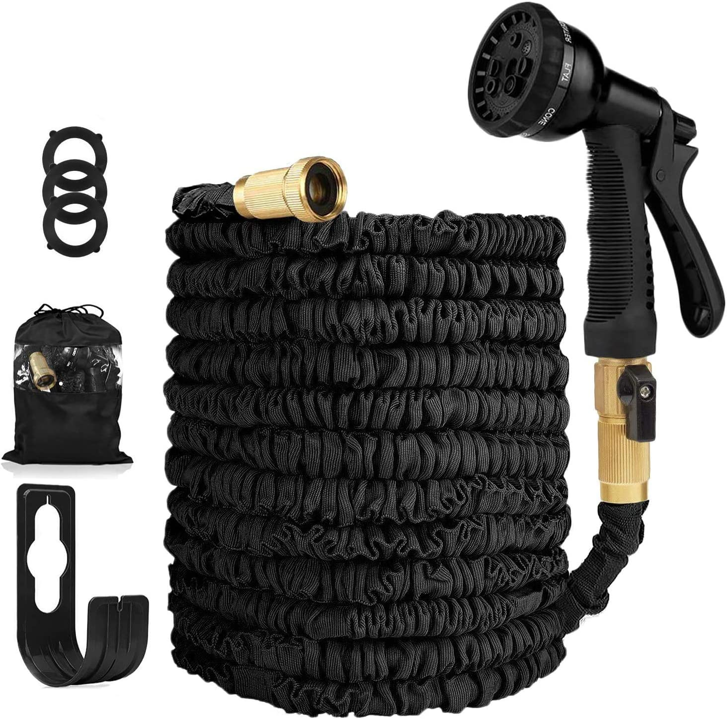 Garden Hose Expandable Hose - Heavy Duty Flexible Leakproof Hose - 8-Pattern High-Pressure Water Spray Nozzle & Bag & Plastic Holder.No Kink Tangle-Free Pocket Water Hose -Black (Black)