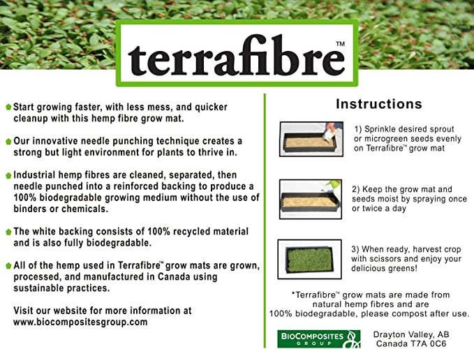 Amazon Com Hemp Matting 140 10 X 20 Terrafibre Hemp Grow Mat Perfect For Microgreens Wheatgrass Sprouts 140 Mats 10 X 20 Fits Standard 10 X 20 Germination Tray Environmentally Friendly