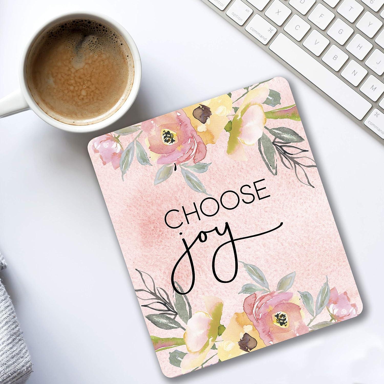 Choose Joy Motivational quote Floral Office Decor Mousepad pink roses Desk accessories for women 81c7mNtprAL