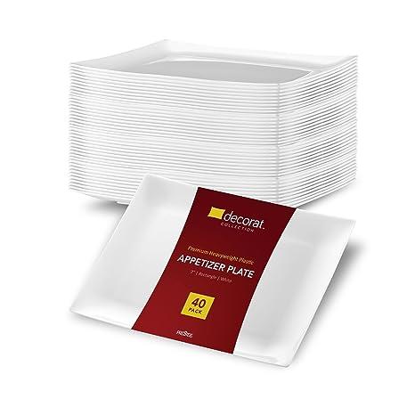 DECORAT WHITE PLASTIC PLATES / APPETIZER PLATES   7 Inch Party Plates - 40 Pack    sc 1 st  Amazon.com & Amazon.com: DECORAT WHITE PLASTIC PLATES / APPETIZER PLATES   7 Inch ...