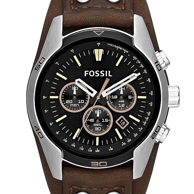 84931a4ba19c Fossil Reloj Cronógrafo para Hombre de Cuarzo con Correa en Cuero CH2891   Fossil  Amazon.es  Relojes