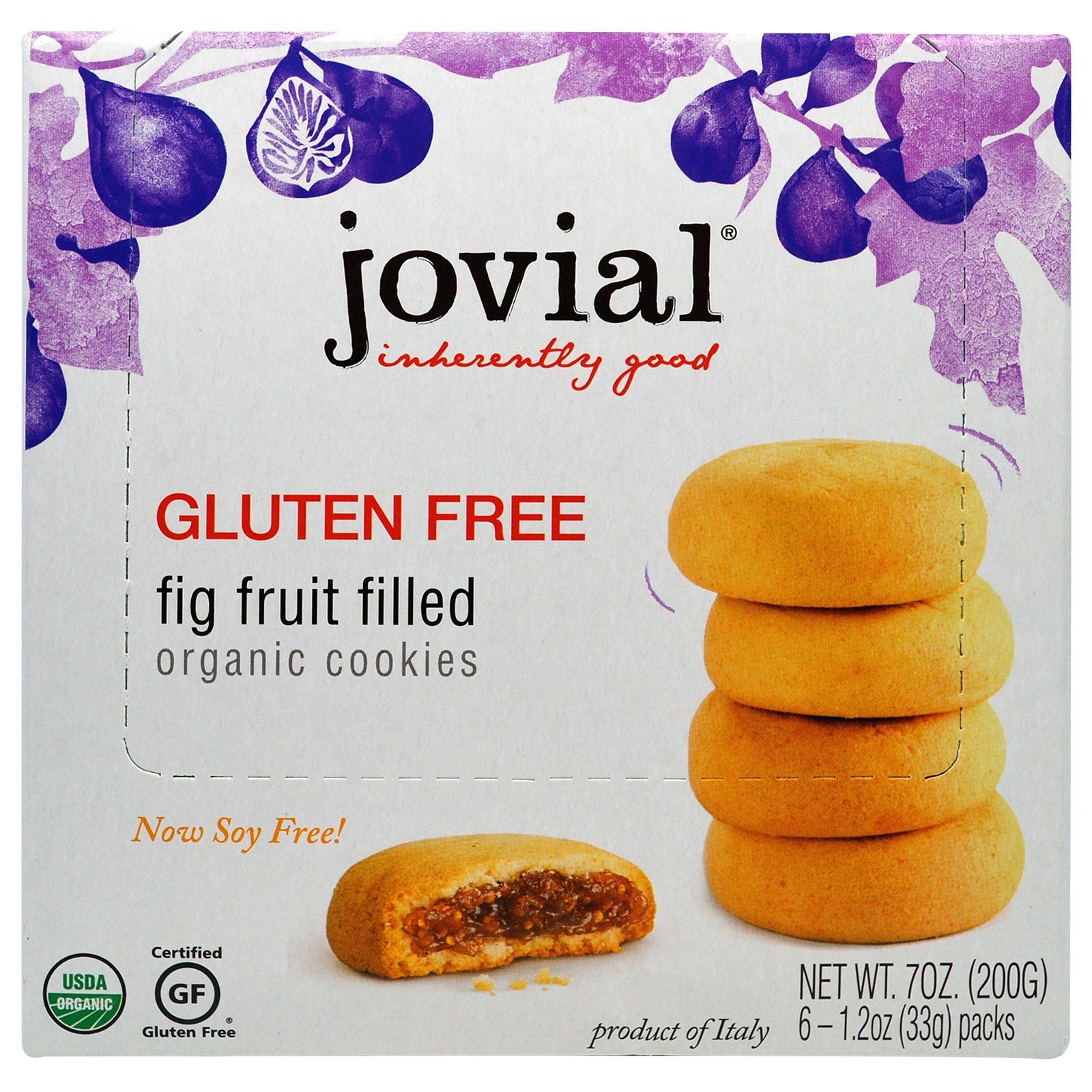 Jovial, Organic Cookies, Fig Fruit Filled, 6 Packs, 1.2 oz (33 g) Each - 3PC by Jovial