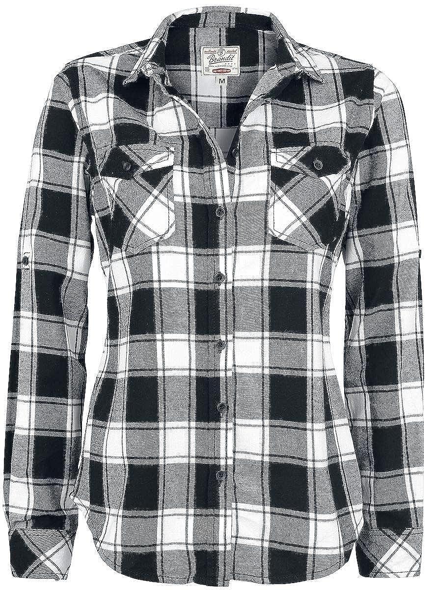 Brandit Camisa a Cuadros de Franela Amy Camisa Mujer negro-blanco M