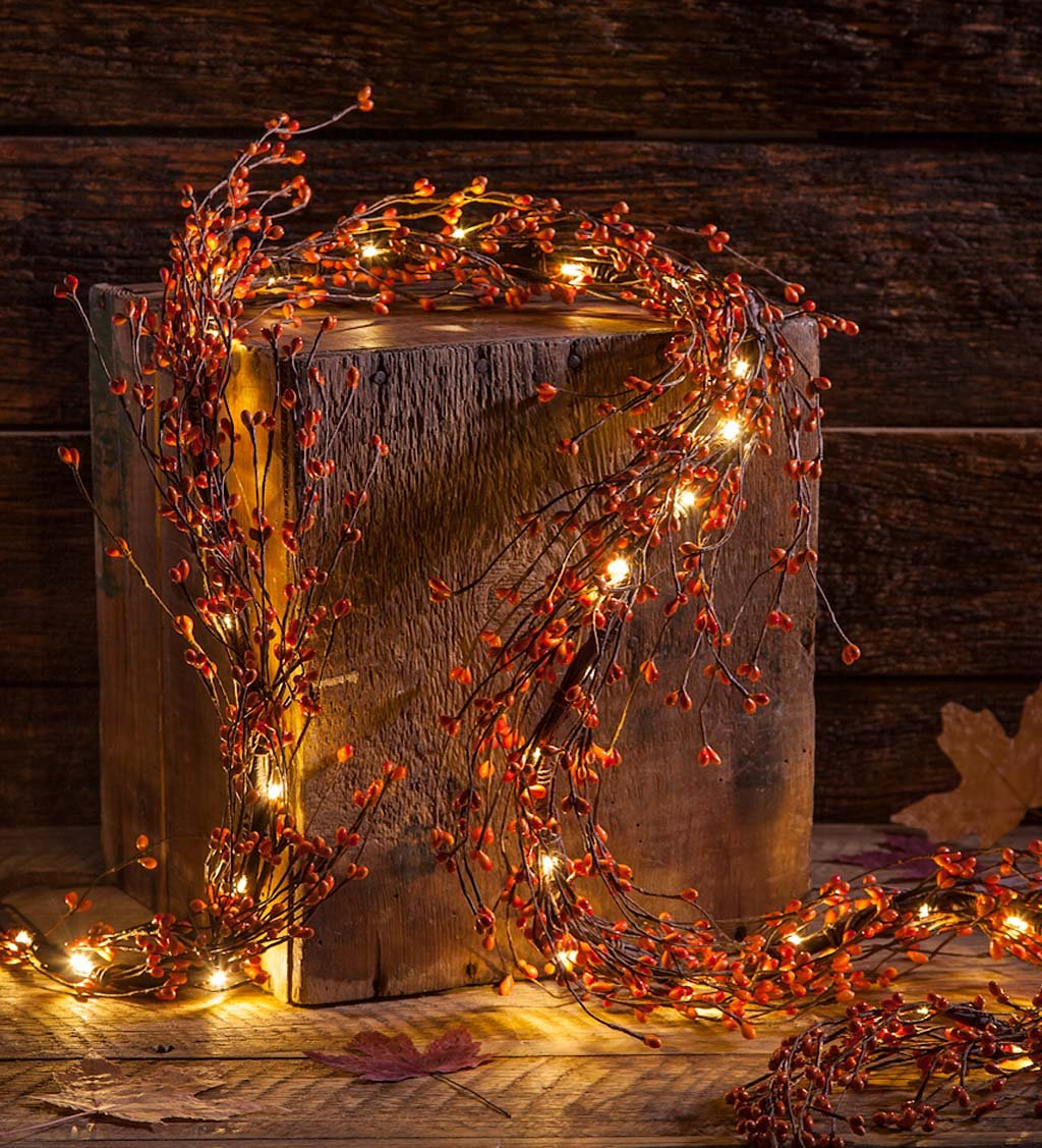 Indoor LED Lighted Autumn Berry Garland 5 H x 17 W x 71 L Plow & Hearth