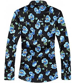 cjh Mens Long Sleeves Punk Floral Casual