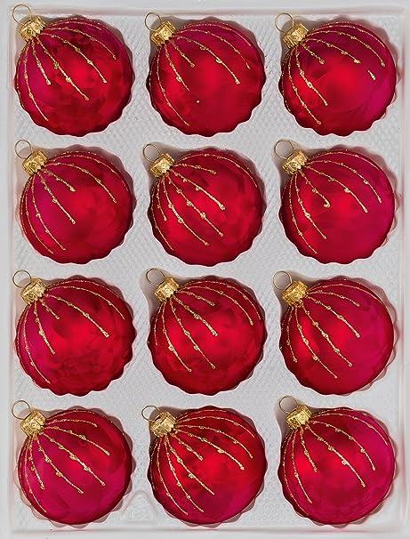 Christbaumkugeln Glas Rot Gold.12 Tlg Glas Weihnachtskugeln Set In Ice Rot Gold Regen Christbaumkugeln Weihnachtsschmuck Christbaumschmuck