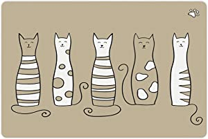Lunarable Cat Pet Mat for Food and Water, Contemporary Graphic of 5 Standing Cats Meow Character Domestic Humor Art Work, Non-Slip Rubber Mat for Dogs and Cats, 18