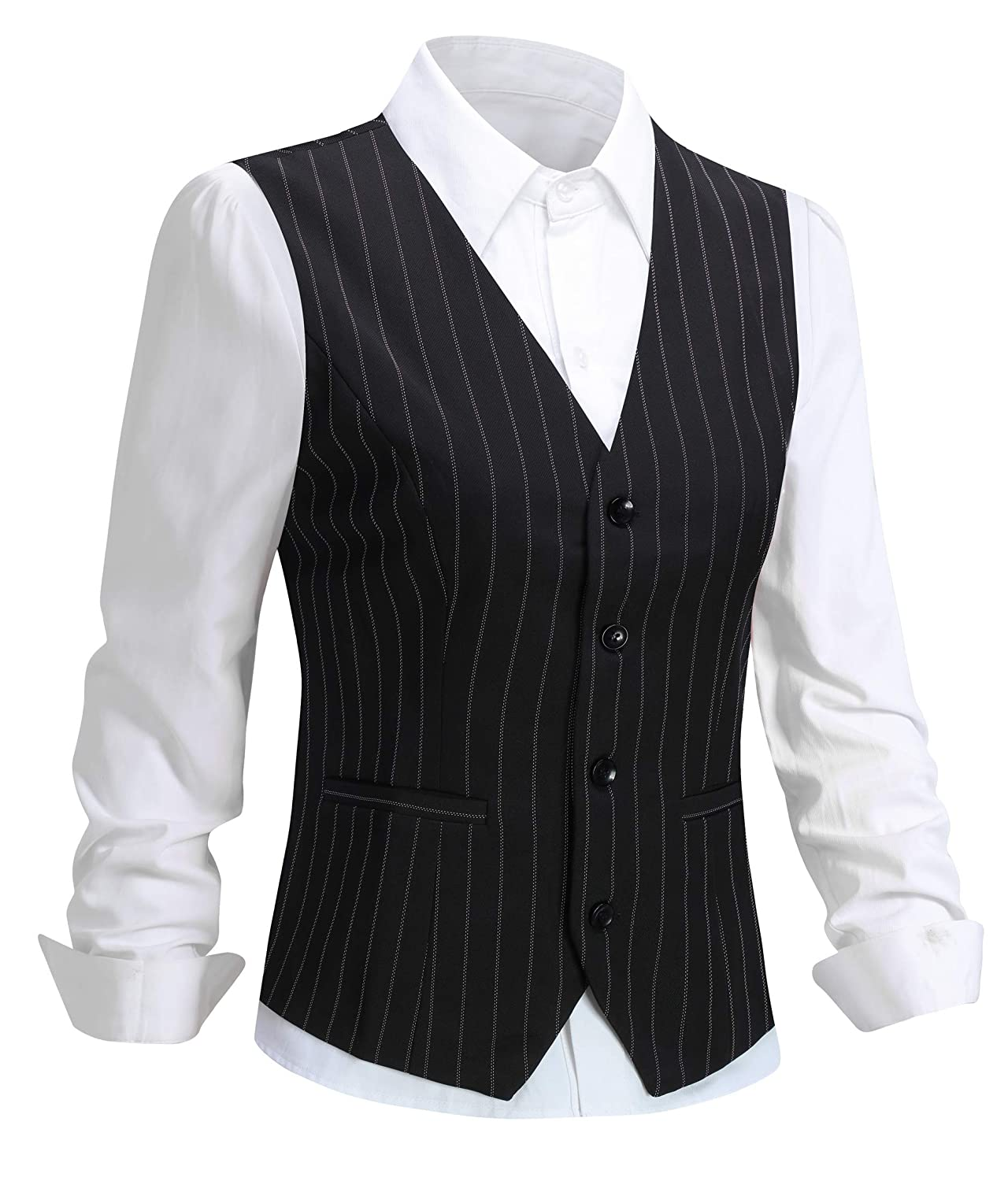 Foucome Womens Pinstripe Formal Casual Suit Slim Fit Button Down Vest Waistcoat