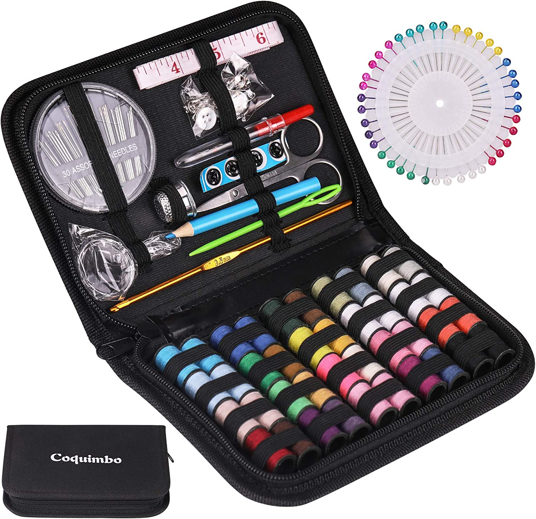 G/én/érique Kit de Couture DIY Premium Couture Fournitures Zipper Portable /& Complete Mini Kit Coudre Mending Supplies Accessoires de Couture Noir