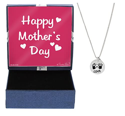 Mothers Day Gift Love Necklace With Childrens Handprints Necklace Silver Tone With Gift Box