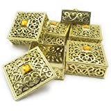 Satyam Kraft Plastic(Pack Of 6) Golden Decorative Box For Storage & Decoration Gift Box For Wedding Box For Storage,Gift (Square)