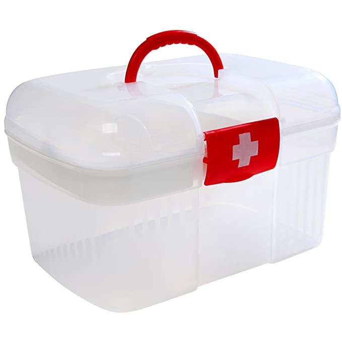 Beau Amazon.com: Red First Aid Clear Container Bin / Family Emergency Kit Storage  Box W/ Detachable Tray   MyGift: Home U0026 Kitchen