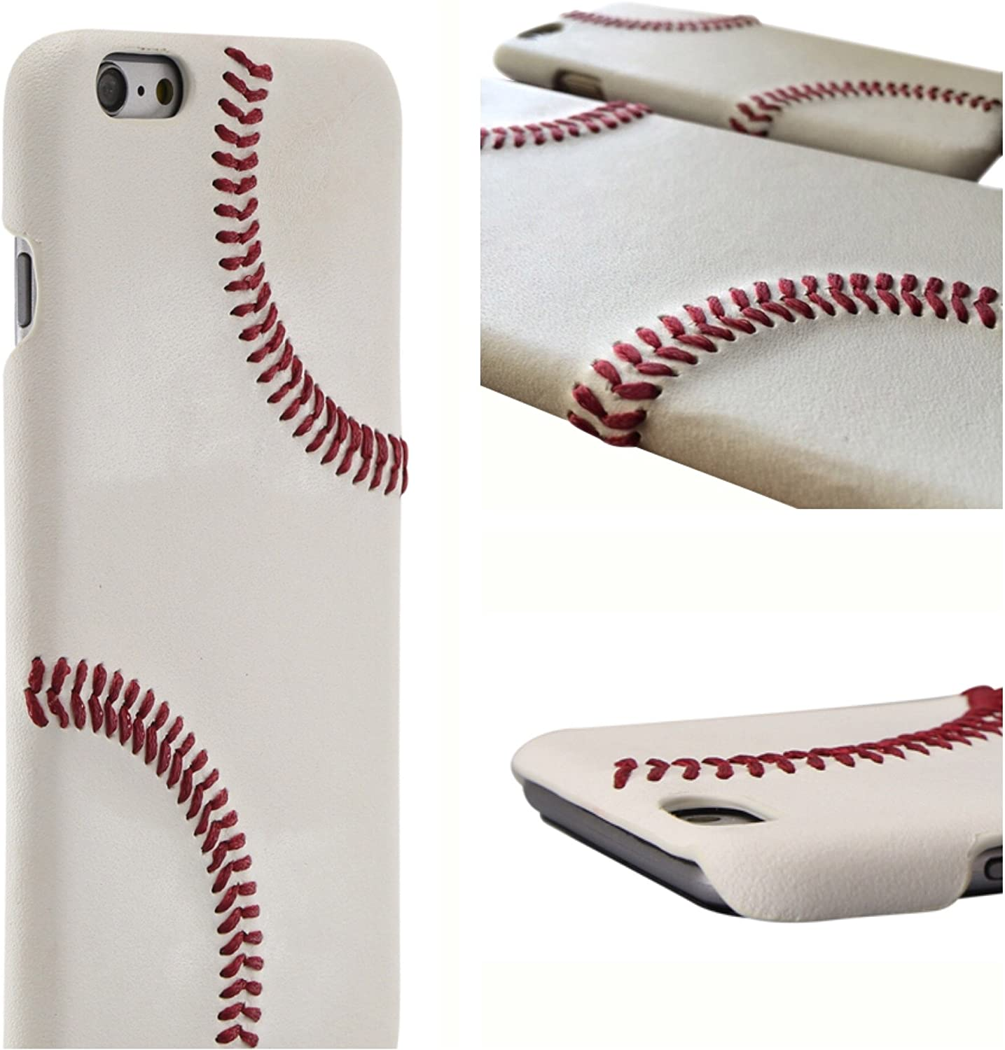 mcmadley Leather Baseball Phone Case for iPhone 6 Plus and 6s Plus. Made with Pro Baseball Leather and Raised Stitch, Ultra Thin, Protective Grip, Light Weight, Perfect Apple iPhone Fit