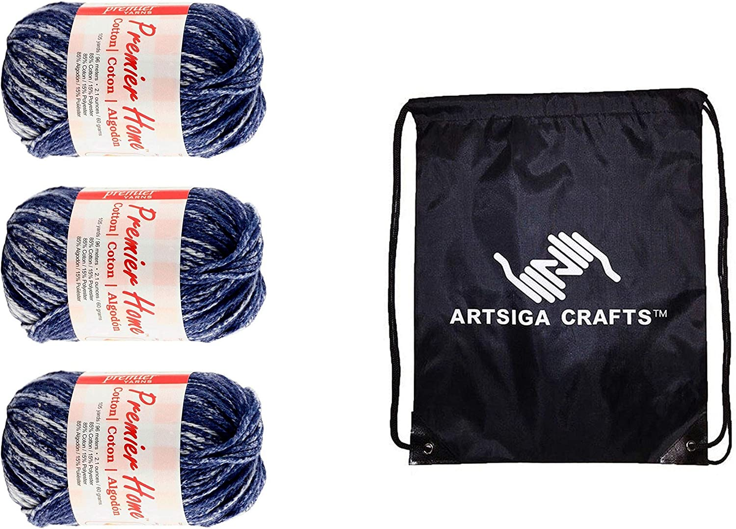 Premier Knitting Yarn Home Cotton Worsted Multi Denim Splash 3-Skein Factory Pack (Same Dye Lot) 44-19, Recycled Cotton-Polyester Blend, Bundle with 1 Artsiga Crafts Project Bag