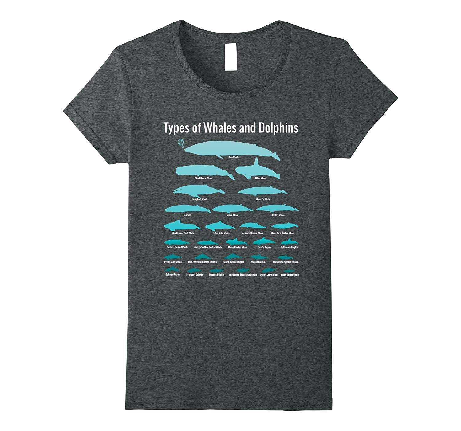 Womens Types Whales Dolphins Educational-Tovacu